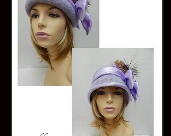 Women's Hat-38  Women's Felted Cloche Hat, Vintage, Accessories, Hat, Handmade, Fall-Winter, cloche felt hat, Downton abbey