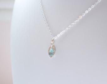 Blue Zircon Jewelry, Child Genuine Gemstone Necklace, Small Sterling Silver Leaf Charm, December Birthstone