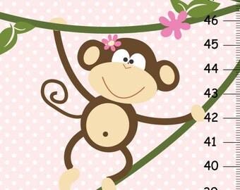 Girl Monkey Canvas Growth Chart