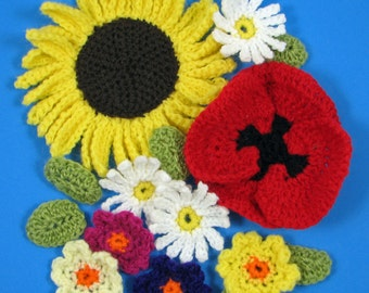 Crochet Flowers Pattern - Sunflower, Poppy, Daisy and Primula - INSTANT DOWNLOAD .pdf
