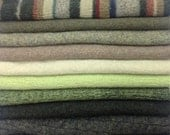 Upcycled 100% Wool Sweater Pieces, Greens & Browns