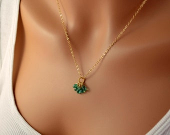 Genuine Emerald Necklace, Precious Gemstone Jewelry, Green Teardrop Stone Cluster, Sterling Silver or Gold Filled, Free Shipping