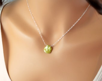 Apple Green Necklace, Keishi Pearl, Genuine, Simple Jewelry, Summer, Beach Wedding, Wire Wrapped, Sterling Silver, Free Shipping