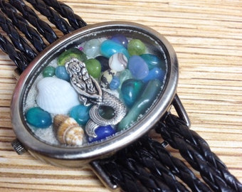 Oval Mermaid Repurposed Upcycled/Recycled Beach Watch Bracelet