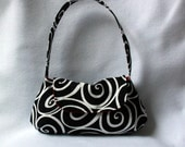 Black and White Purse with Red Lining - Swirl Pattern Bag