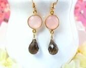 Pink chalcedony bezel brown quartz gold dangle earrings, Valentines Day pink chalcedony earrings