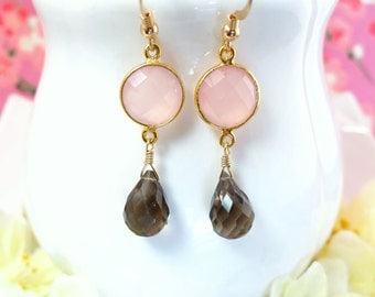 Pink chalcedony bezel brown quartz gold dangle earrings, Valentines Day blush pink chalcedony earrings, birthday pink brown bezel earrings