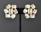 Vintage Silver Tone Emerald Cut Rhinestone Clip Earrings