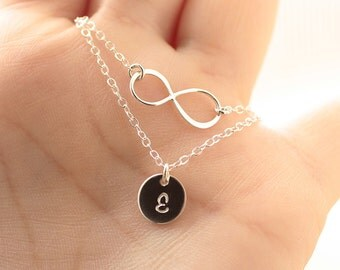 Layering Necklace Set, Initial Necklace, Layered Necklace, Infinity Necklace, Personalized Necklace, Mother's Necklace, Sterling Silver