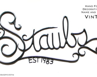 GREAT ANNIVERSARY Gift Hand Forged Decorative Iron Name & Date Sign by VinTin (Item# W-808)