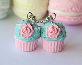 Shabby chic pastel strawberry-turquoise cupcake earrings