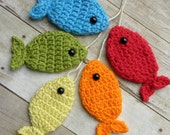 6 Ft. Crochet Fish Banner - String of Rainbow Trout - Newborn Photo Prop - Red, Yellow, Green, Orange and Blue Fishies