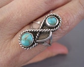 Vintage Sterling Turquoise Rope Style Navajo Ring
