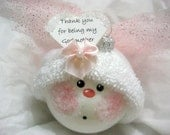 Godmother Gift Baptism Angel Ornament Pink Wings Townsend Custom Gifts - F
