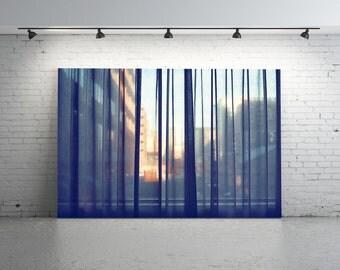 Window Photography, FILM Photo. Through a Window, Curtain, Buildings, Grey, Orange, Black, Melbourne, Film Photo, Light, Pattern