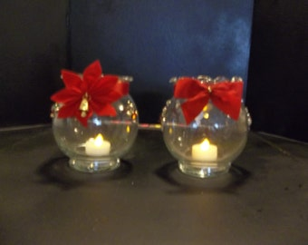 Glass Christmas Luminarie with Electric Candle(poinsettia)