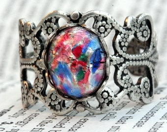 Multi Color Opal Ring Adjustable Silver Ox Filigree Ring Silver Vintage Glass Opaline Gift Christmas Wedding