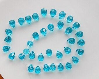 6 pcs London Blue   glass   teardrop briolette, faceted   (12x9mm),