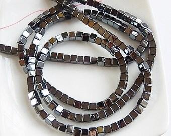 4mm Hematite cube beads, full strand