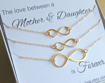 Mother Two Daughters Jewelry Set Infinity Necklace Set