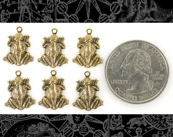 Antique Brass Nubby Skin Sitting Frog Charms Set of 6 XXX *AB-C123