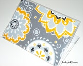 Passport Cover Case- Passport Holder- Suzani Collection- Yellow and White Flowers on Gray