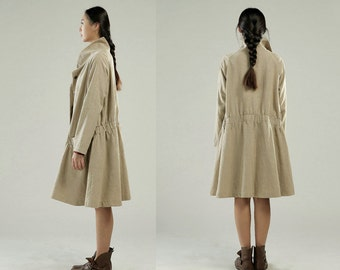 Free Style Linen Coat Dess / Lovely Pleated Long Jacket/ Black and Beige/ 9 Colors/ RAMIES