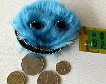 Furry Blue Monster Coin Purse