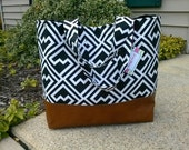 black diaper bag, aztec diaper bag with leather bottom, tote bag in black shakes geometric with leather, Everything Bag, Zig Zag,