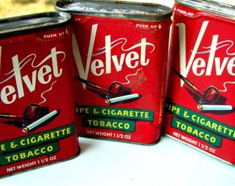 Vintage Velvet Tobacco Tins - Set of Three