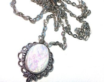 White opal faceted jewel cabochon Necklace