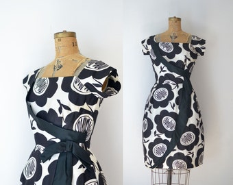 1960s Silk Cocktail Dress / 60s Black and White Floral Print Party Dress