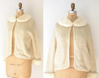1950s Fur Collar Cardigan / 50s Cream Wool Sweater