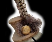 Steampunk Hat with Victorian Steam Engine Pocket Watch Medallion and Pheasant Feathers
