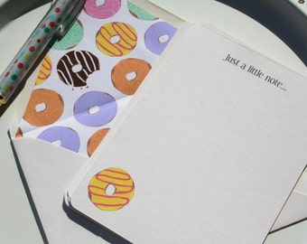 Personalized Custom Pastel Doughnut Illustrated Note Card Set