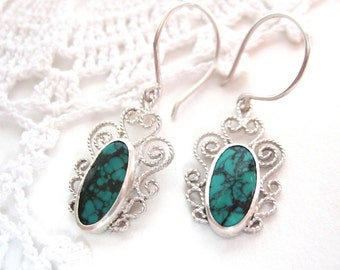 "Sterling Silver Handmade filigree Turquoise Earrings ""SweetHearts"", Romantic filigree blue earrings, Heart filigree Earrings, Stone earrings"