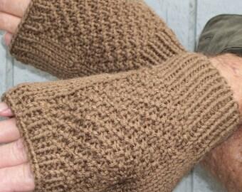 Hobbit Inspired Hand Knitted Coffee Colored Fingerless Gloves - Custom Order