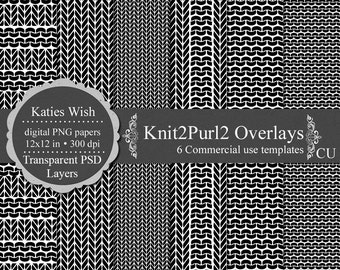 Knit and Purl overlays digital templates PSD and PNG transparent layers for commercial use  Instant Download