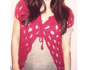 Pink Fuchsia vest shrug bolero wool bulky OOAK hand knitted 4 seasons