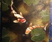 """Zen Koi Fish Painting """"A Time to rest""""by Michael H. Prosper 20 x 20 canvas"""