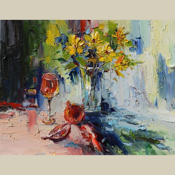 ORIGINAL Oil Painting Late Return 23x30 Colorful Flowers Yellow Blue Vase Bouquet Textured  Palette Knife Wine Glass Fruit ART by Marchella