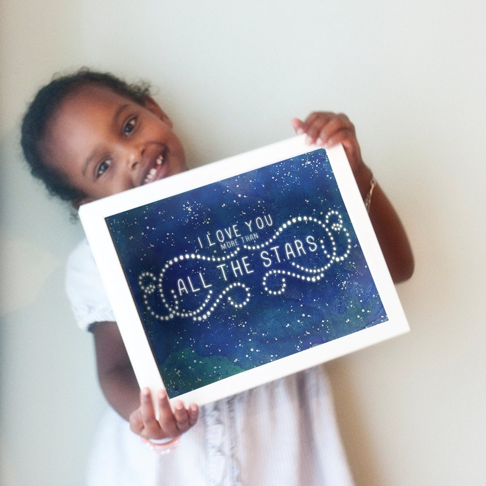 All The Stars print in blues and teal