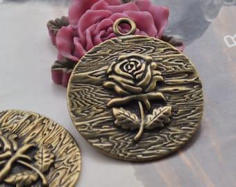 Flower charms,15pc antique bronze rose flower charm pendants 38mm