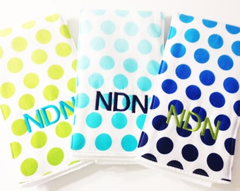 Monogrammed Burp Cloth Trio - Blue and Green Ombre - Etsykids Team - Gender Neutral - Baby Shower Gift - Polka Dots - Burp Cloth Gift Set