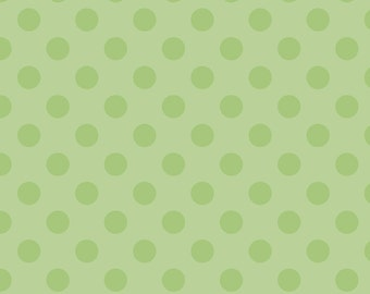 SALE - One Yard - Medium Dots in Green by Riley Blake - Tone on Tone