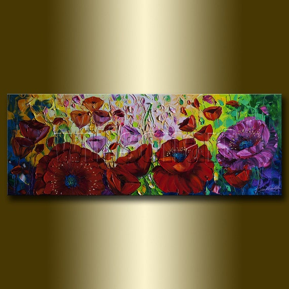 Modern Flower Oil Painting Poppy Fields Red Poppies Floral Canvas Textured Palette Knife Original Art 15X40 by Willson Lau