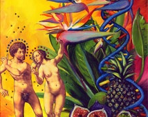Paradise, A4 Fine Art Surreal Garden of Eden Painting Print