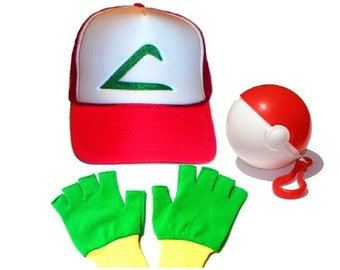 Pokemon Ash Trainer Hat Gloves and Ball Set Halloween costume Adult
