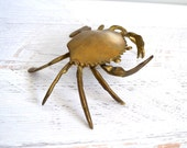 Vintage Brass Crab Figurine, Trinket Box, Gold Tone Metal Crab Ring Holder, Ashtray, Nautical Shell Fish Summer Decor