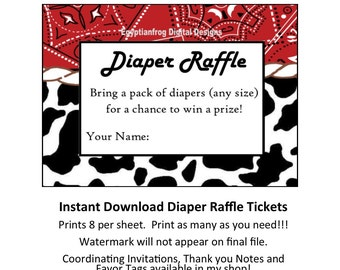 INSTANT DOWNLOAD - Cowboy Red Bandana Diaper Raffle Ticket - You print as many copies as you need!